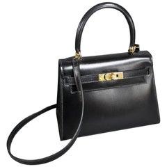 Vintage Hermès Mini Kelly Sellier Bag Black Box Leather Ghw 20 cm