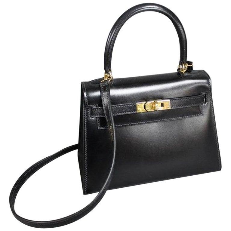 Vintage Hermès Mini Kelly Sellier Bag Black Box Leather Ghw 20 cm For Sale