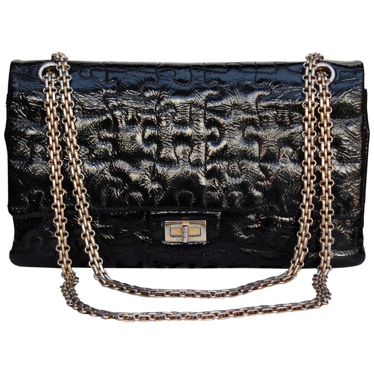 "9511caa39635 Chanel black quilted patent leather""Puzzle"" bag model 2.55"