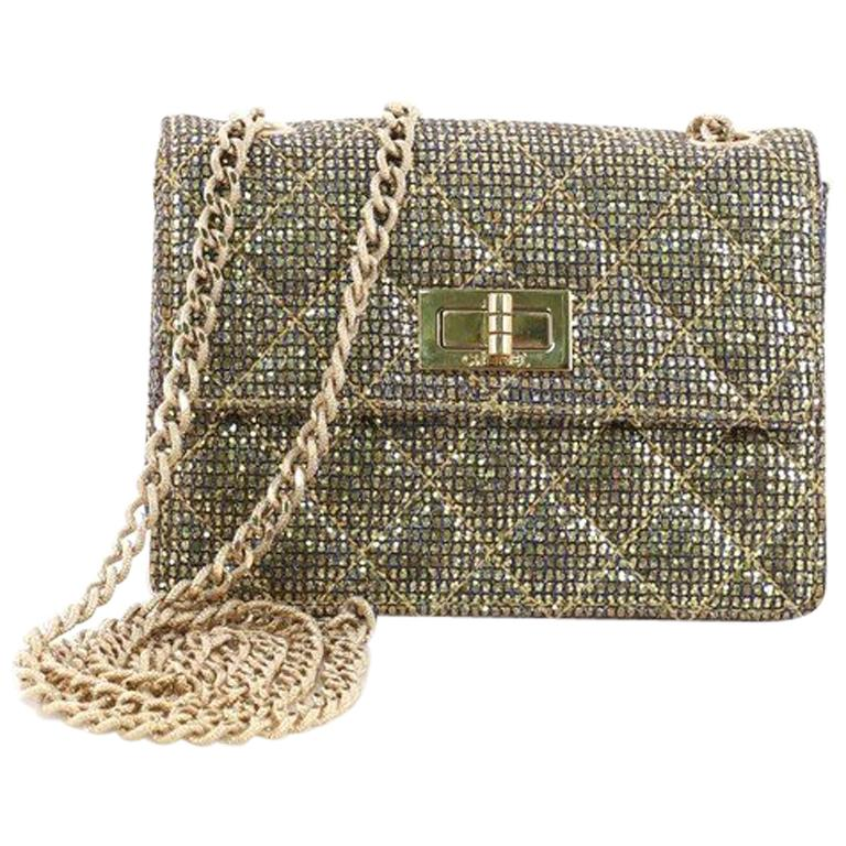 b786fe0a1fe4 Chanel Mademoiselle Lock Crossbody Bag Quilted Glitter Fabric Mini For Sale