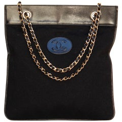 Chanel black leather and jersey bag with chain handles, 1970's