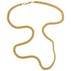 14K Gold Peru BBB Hoop Link Chain Lightweight Necklace