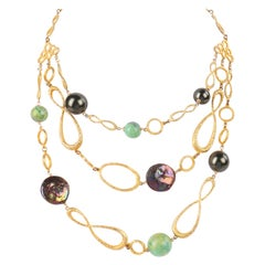 ALEXIS BITTAR Hammered Sterling Silver Gold Pearl Agate Multi Strand Necklace
