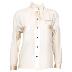 Chanel Long Sleeve Blouse with Mandarin Collar Front Pockets