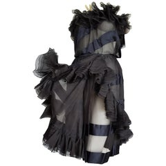 VALENTINO Haute Couture Strapless Silk Satin Black Evening Dress - Unworn, New