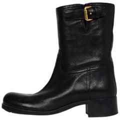 Prada Black Leather Moto Boots W/ Goldtone Side Buckle Sz 37.5