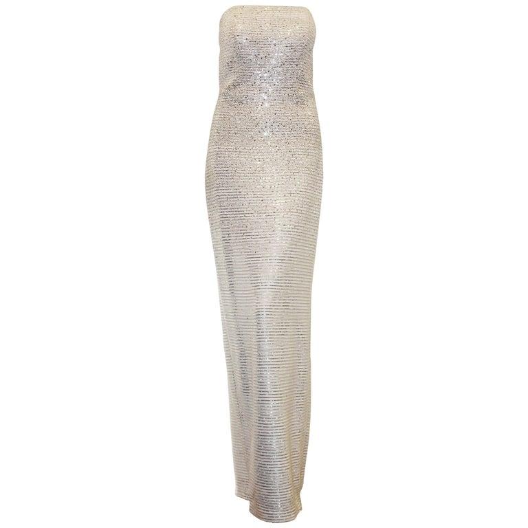 St. John White Lattice Knit Gown W/ Mini Sequins Throughout  For Sale