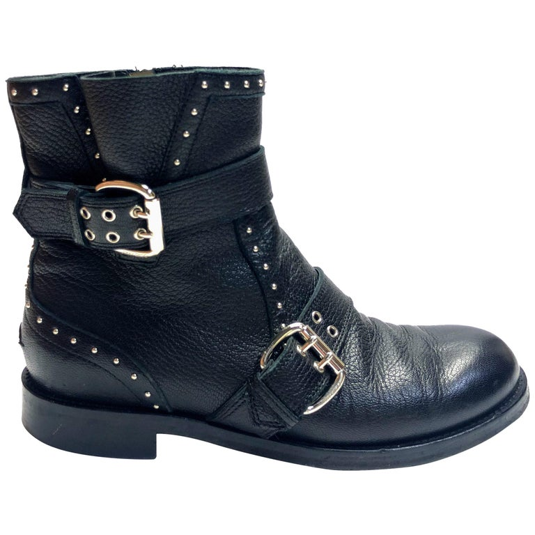 Jimmy Choo Silver Studded Ankle Boots For Sale
