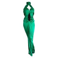 VALENTINO Haute Couture Green Silk Gown Evening Dress - Unworn, New