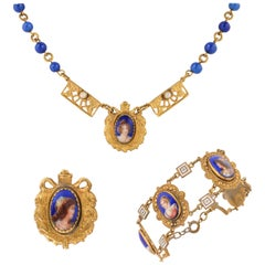 ART NOUVEAU c.1920's Czech Hand Painted Portrait Brass Necklace Bracelet Parure