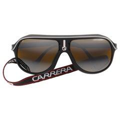 CARRERA c.1980's Black Plastic Frame Mirrored Lens Sport Glacier Sunglasses 5544