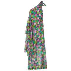Yves Saint Laurent Multi-Color Floral One Shoulder Layered Silk Dress YSL, 1970s