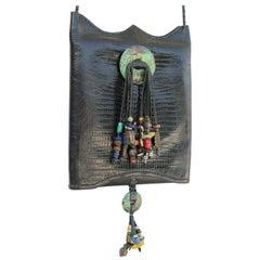 1970s Lizard Gem Tassels Crossbody Bag-Lightweight for Phone, Passport, Everyday