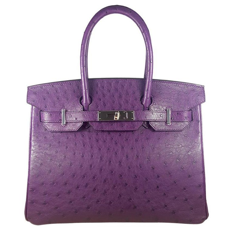 Hérmes 30cm Violet Ostrich Birkin Bag For Sale