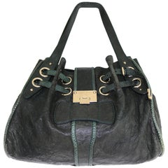 Jimmy Choo Dark Green Crinkled Leather Snakeskin Trim Riki Tote