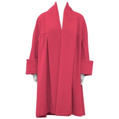 1980's Chanel Hot Pink Angora and Wool Swing Coat