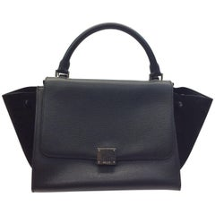 Celine Black Leather and Suede Small 'Trapeze' Handbag