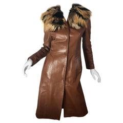 Dolce & Gabbana Leather Coat w/ Fur Collar