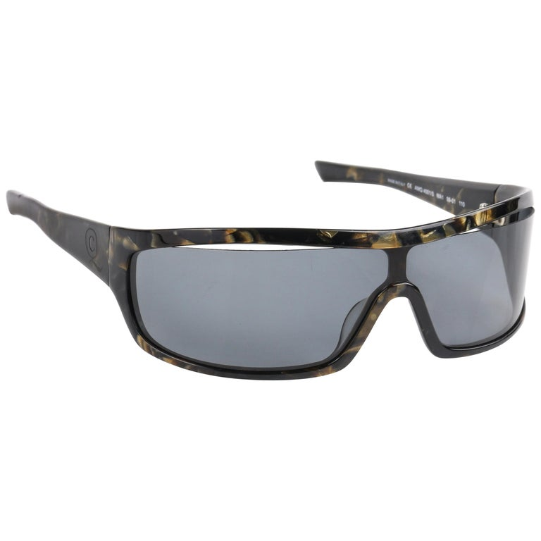 ALEXANDER McQUEEN Metallic Gold Tortoise Shell Shield Sunglasses 4001/S For Sale