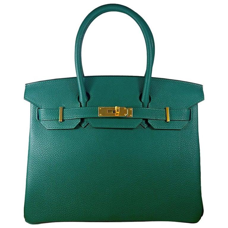 Hérmes 30cm Malachite Togo Calfskin Birkin Bag For Sale