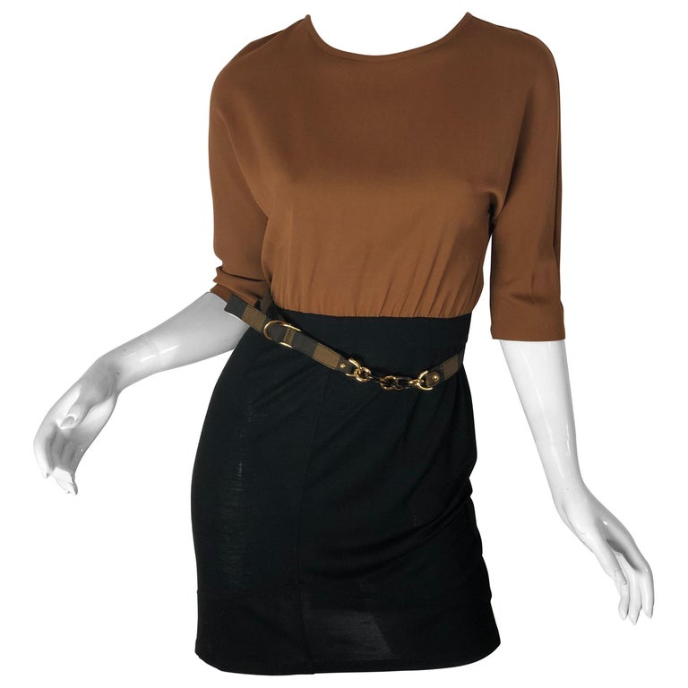 f9b345de77c8 Fendi Color-block Dress w  Belt For Sale at 1stdibs