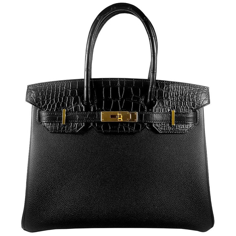 Hérmes 30cm Black Crocodile / Togo Birkin Touch Bag For Sale