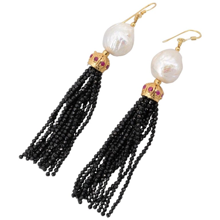 Gold on Sterling Silver Cultured Pearl, Ruby, Onyx Tassel Earrings For Sale