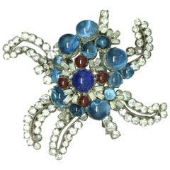 Gripoix signed France Blue red Poured Glass abstract Star Brooch