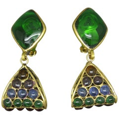 French Gripoix abstract Drop Green Poured Glass Earrings