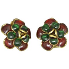 French Gripoix camelia flower Green red Poured Glass Earrings