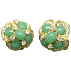 French Gripoix star mint Green Poured Glass Earrings