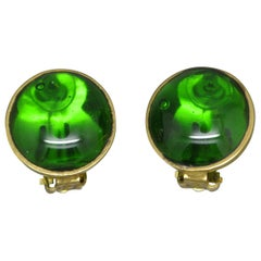 French Gripoix emerald Green Poured Glass Earrings
