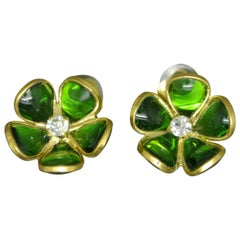 French Gripoix emerald Green flower Poured Glass Earrings