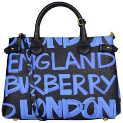Burberry '18 Black/Blue Grained Calfskin Leather Graffiti Medium Banner Tote Bag