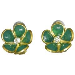 French Gripoix mint Green flower Poured Glass Earrings