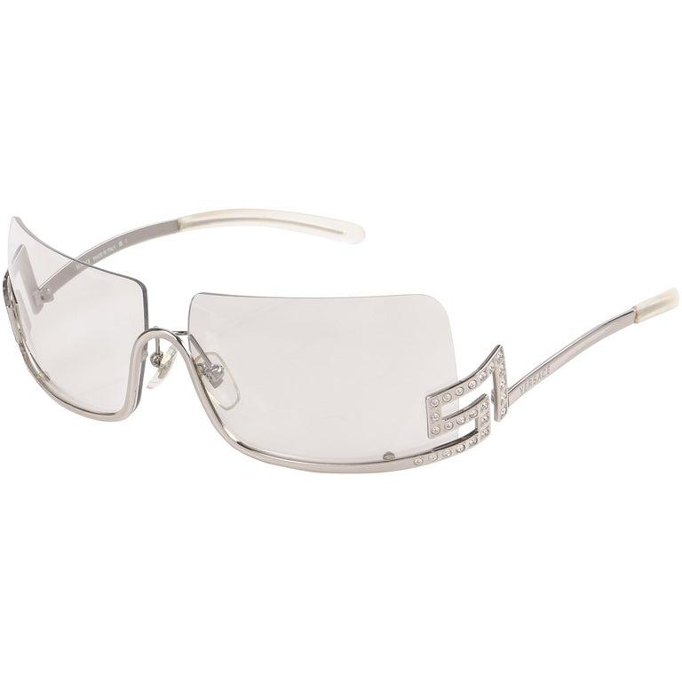 5647352483dc VERSACE Clear Half Rim Crystal Rhinestone Greek Key Sunglasses N20 H For  Sale