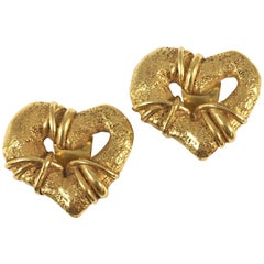 Christian LaCroix Goldtone Heart Earrings 1994
