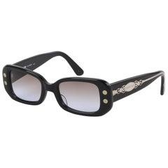 JEAN PAUL GAULTIER c.1997 Black Box Rectangular Frame Sunglasses 56-8007