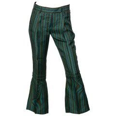 Prada Fairy Collection Green Purple Printed Flared Runway Pants, 2008