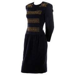 Louis Feraud Vintage Wool Knit Dress With Copper Bead Details