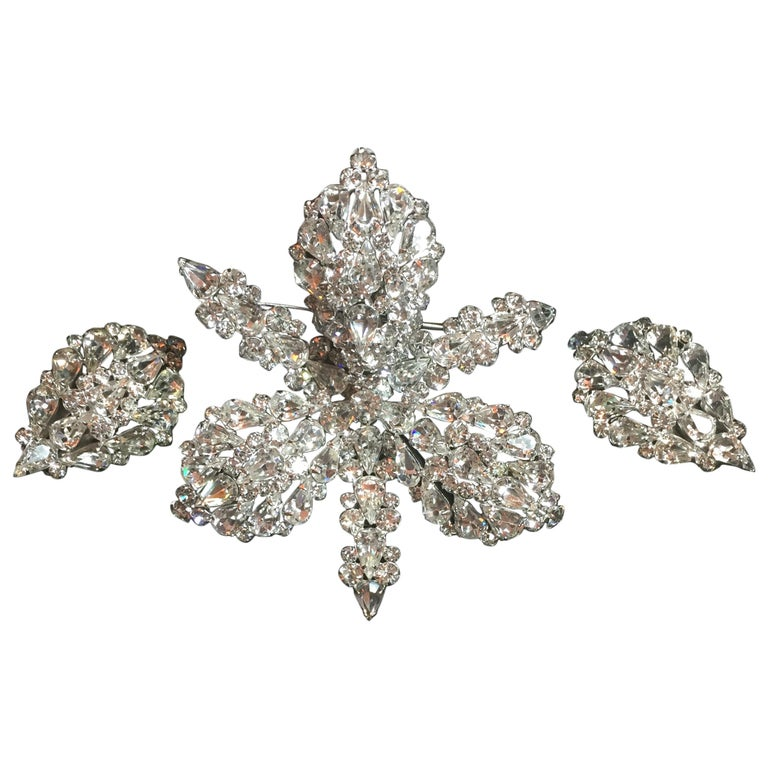 Massive Elsa Schiaparelli Crystal & Rhodium Orchid Brooch & Earrings, 1950s For Sale