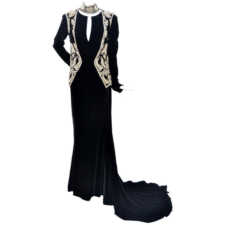 "Alexander McQueen Vintage 2006 ""Widows of Culloden"" Embellished Velvet Dress 40  For Sale"