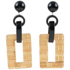 Angela Caputi Black Resin and Lucite with Rattan Dangling Clip On Earrings