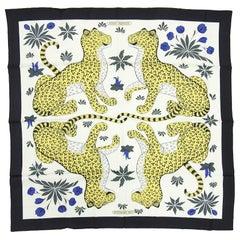 Hermes Leopards Silk Twill 90cm Scarf in Box