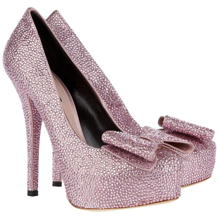 Dolce & Gabbana Swarovski Pink Strass Embellished Shoes 37 NEW   For Sale