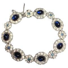 Ciner Sapphire Rhodium Link Bracelet, 1950s
