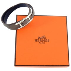 Hermes Brown Leather Behapi Double Tour Bracelet in Box
