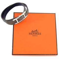 Hermes Brown Leather Behapi Double Tour Bracelet in Box