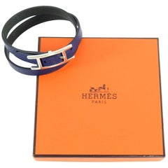 Hermes Navy Leather Behapi Double Tour Bracelet in Box