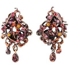Christian Lacroix Red Enamel Dangle Clip Earrings